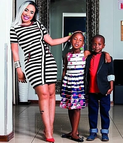 Mshoza and her children Pride and Jacob Jnr
